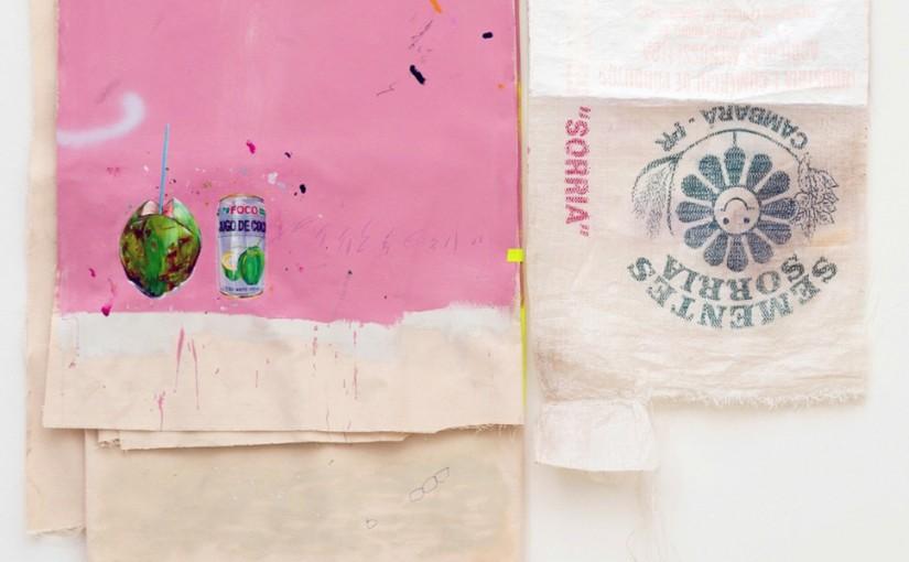 Escambo / Similitude / Barter / Similarity , 2014 </br>Acrílica, caneta, lápis, esmalte sintético sobre tela e saco de semente / Acrylic, pen, pencil, syntetic enamel on canvas and bag of seeds </br>115 x 129 cm