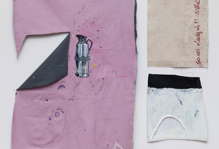 Boia Fria, 2014 </br>acrílica, óleo, esmalte sintético, caneta, lápis, desenhos sobre tela e papel / acrylic, oil, synthetic enamel, pen, pencil, drawings on canvas and paper </br>142 x 110 cm