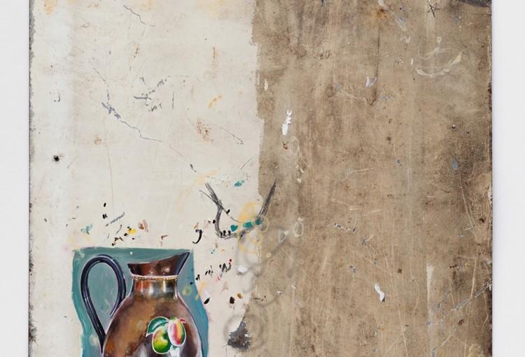 História Natural / Natural history, 2015 </br>Óleo, acrílica, lápis e caneta sobre chapa de ferro e ímã de geladeira / Oil, acrylic, pencil an pen on iron plate and magnet </br>94 x 59 cm