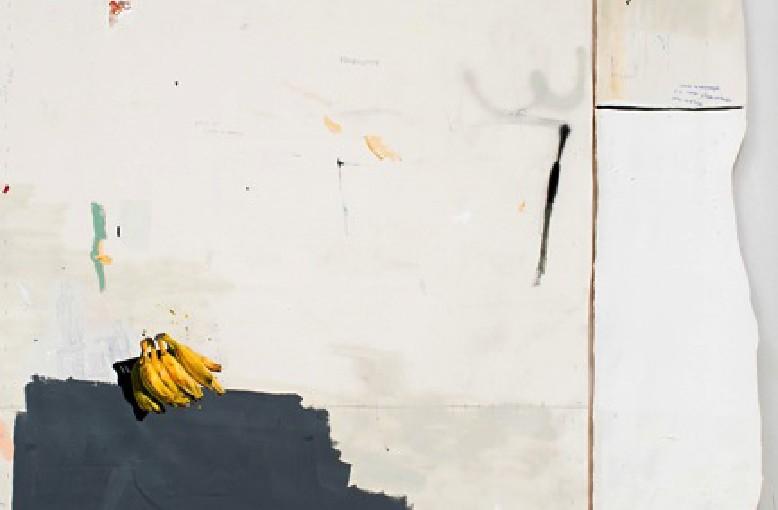 Bahia e Portugal / Bahia and Portugal </br>Acrílico, esmalte sintético, lápis, caneta, sujeira sobre tela, concreto e tijolo / Acrylic, syntetic enamel, pencil, pen and dirty on canvas, concrete and adobe </br>252 x 168 cm (brincks included)
