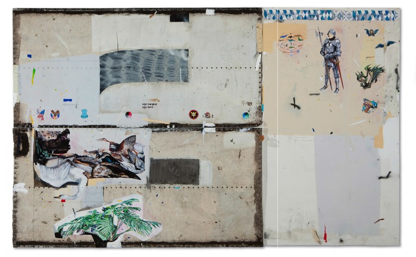 Diálogo entre Arranjos, Constelações e Tempo I, 2013 / Dialogue between arrangements, Constellations and Time 1 </br>Acrílica, esmalte sintético, lápis e caneta sobre tela e ferro / Acrylic, synthetic enamel, pencil and pen on canvas an iron plate </br>246 x 400 cm (triptych – 123 x 259 cm each metal plate, 246 x 141 cm canvas)