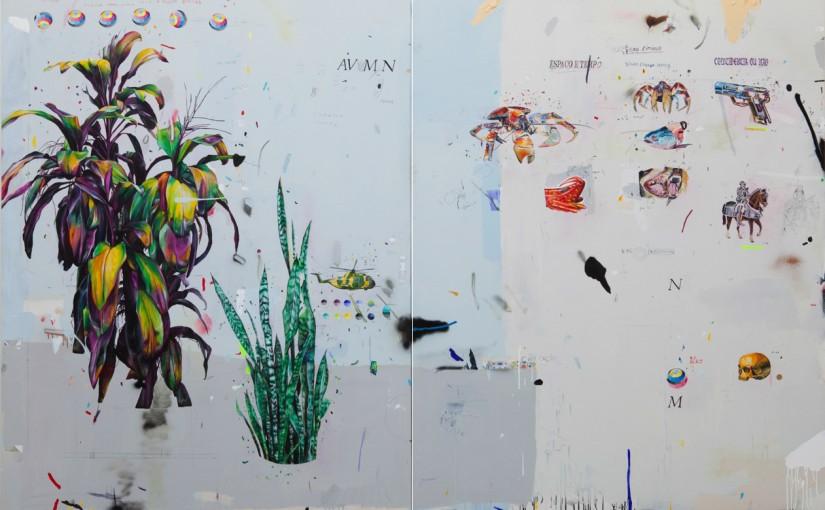 Ciência Geral Entre Sistemas, 2012 </br>acrílica, lápis, esmalte sintético e caneta sobre tela /acrylic, pencil, synthetic enamel and pen on canvas </br>200 x 300 cm