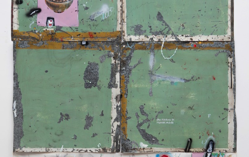 ETHOS Cruzados / Crossed ETHOS, 2015 </br>acrílica, óleo, lápis, caneta sobre tela e chapa de ferro / acrylic, oil, pen, pencil on iron plate, cotton, paper and concrete </br>250 x 200 cm