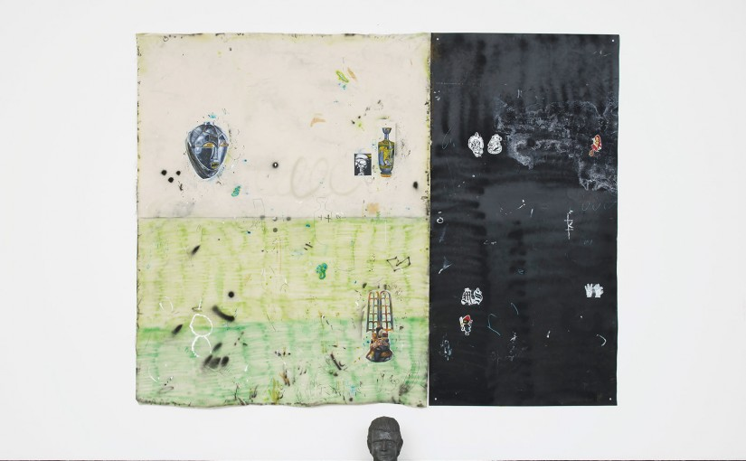 Between philosophy and crime, part 3 </br>acrylic, spray paint, brick pigment, pencil and pen on canvas and iron plate, with metal objects </br>200 x 255 cm </br>2016