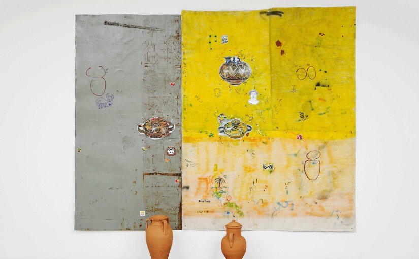 Clay </br>acrylic, spray paint, brick pigment, pencil and pen on canvas and iron plate, with ceramic objects </br>200 x 255 cm </br>2016