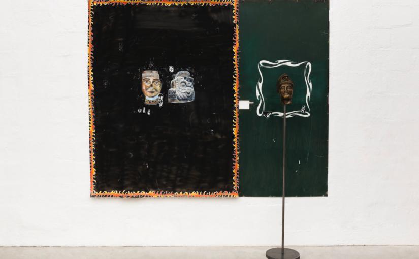 Paulo Nimer Pjota, Cada cabeça uma sentença part. 1, 2018, acrylic, synthetic enamel, oil on iron plate and canvas, and bronze, 185 × 225 cm