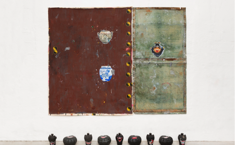 Paulo Nimer Pjota, Smile, 2018, acrylic, synthetic enamel, oil on iron plate and canvas, and resin objects, 200 × 250 cm