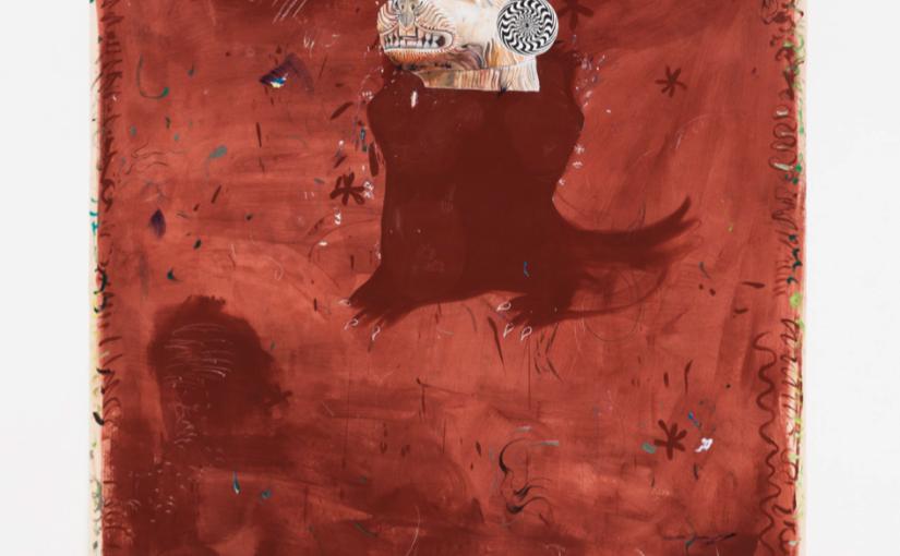Paulo Nimer Pjota, Sou leão, Sou Demais Pro Seu Quintal, 2018, oil, tempera and acrylic on canvas plus bronze objects, 210 × 155 cm