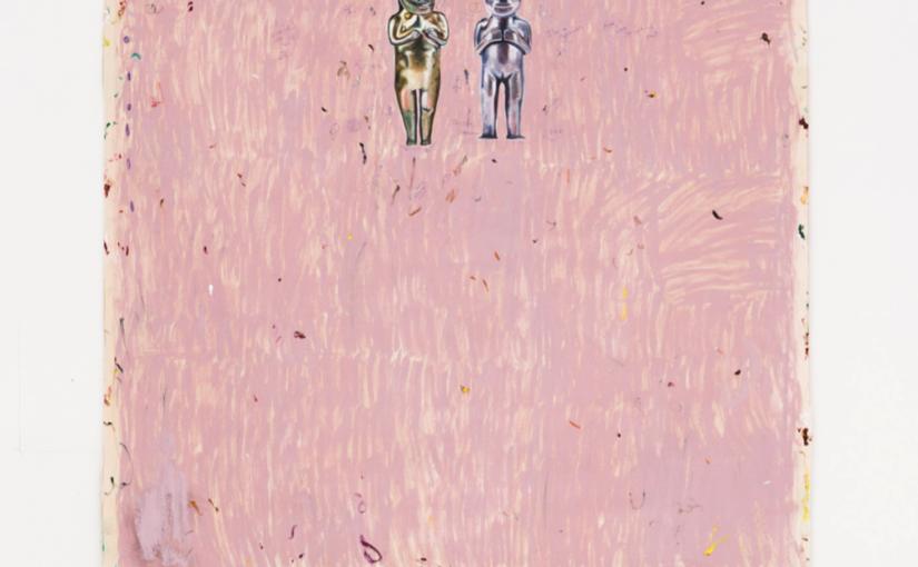 Paulo Nimer Pjota, Jardim do Éden, 2018, oil, acrylic and pen on canvas and bronze objects, 210 × 155 cm