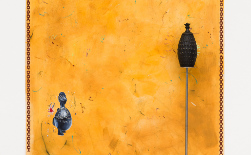 Paulo Nimer Pjota, Festa e Ouro, 2018, oil, tempera and acrylic on canvas plus bronze object and iron pedestal, 210 × 155 cm
