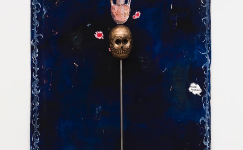 Paulo Nimer Pjota, Vida e Morte Ritual de Passagem, 2018, oil, tempera and acrylic on canvas plus bronze object and iron pedestal, 210 × 155 cm