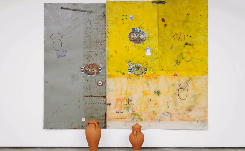 Paulo Nimer Pjota, clay, 2016, acrylic, spray paint, brick pigment, pencil and pen on canvas and iron plate, with ceramic objects, 255 × 200 cm