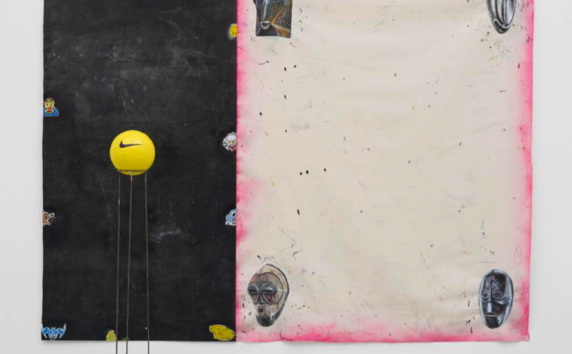 Paulo Nimer Pjota Vaporware, some samples, 2016 acrylic, pencil, pen on canvas and iron plate, magnet, soccer ball and iron support painting 200 × 250 cm object 148 × 21 cm ø
