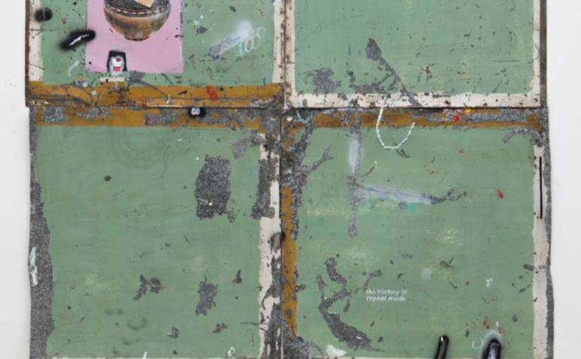 Paulo Nimer Pjota ETHOS Cruzados, 2015 acrylic, oil, pen, pencil on iron plate, cotton, paper and concrete 250 × 200 cm