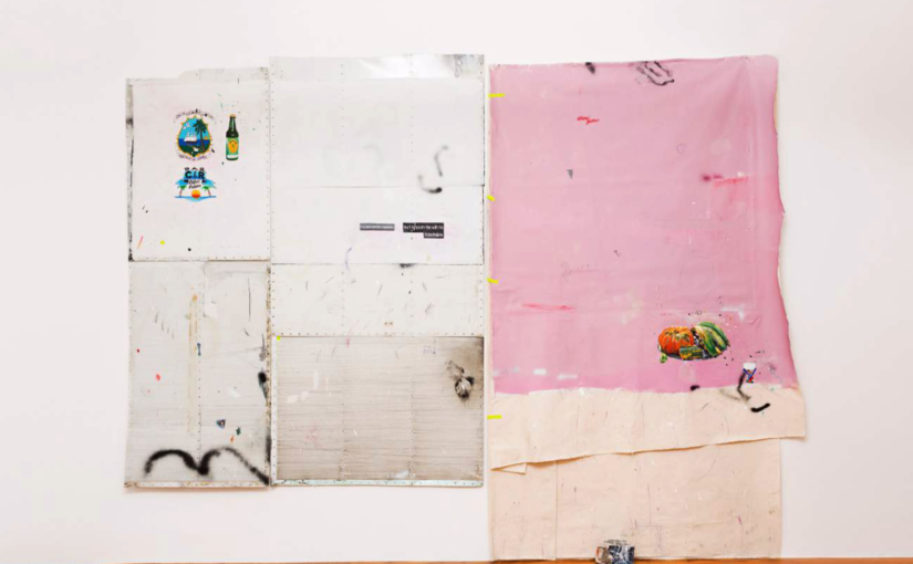 Paulo Nimer Pjota, Offering, landscape and war, 2014, acrylic, pencil, pen, synthetic enamel on aluminium, canvas, on canvas, concrete and brick, 285 × 380 cm